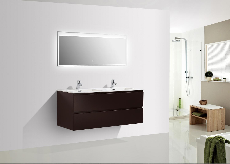 Mobili Da Bagno Bianco Lucido : Mobile arredo bagno bianco lucido con top in rovere nk