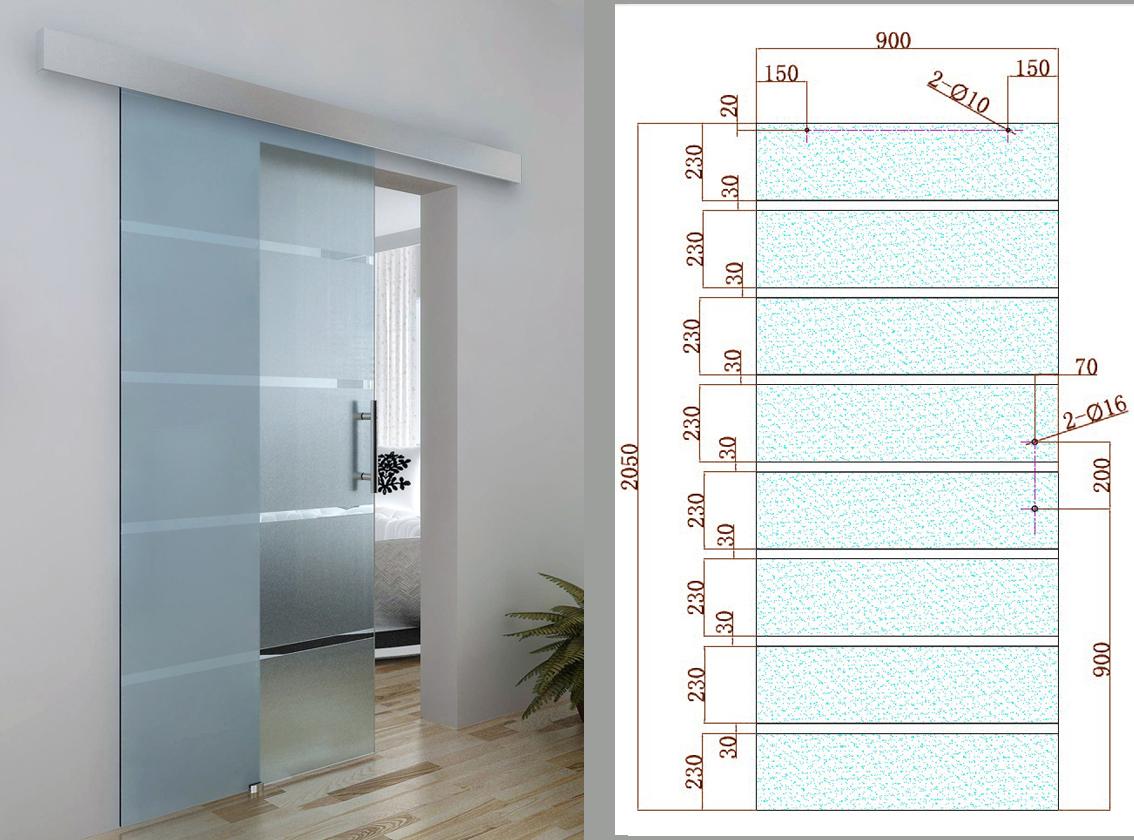 Schiebetür glas satiniert  Glasschiebetür SET - Glastür ESG Glas 205x90cm satiniert ...