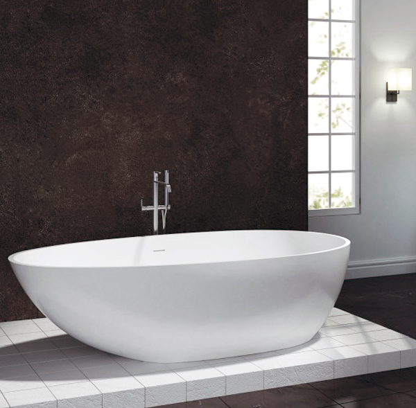 freistehende badewanne aus mineralguss vela stone wei 180x90cm solid stone ebay. Black Bedroom Furniture Sets. Home Design Ideas