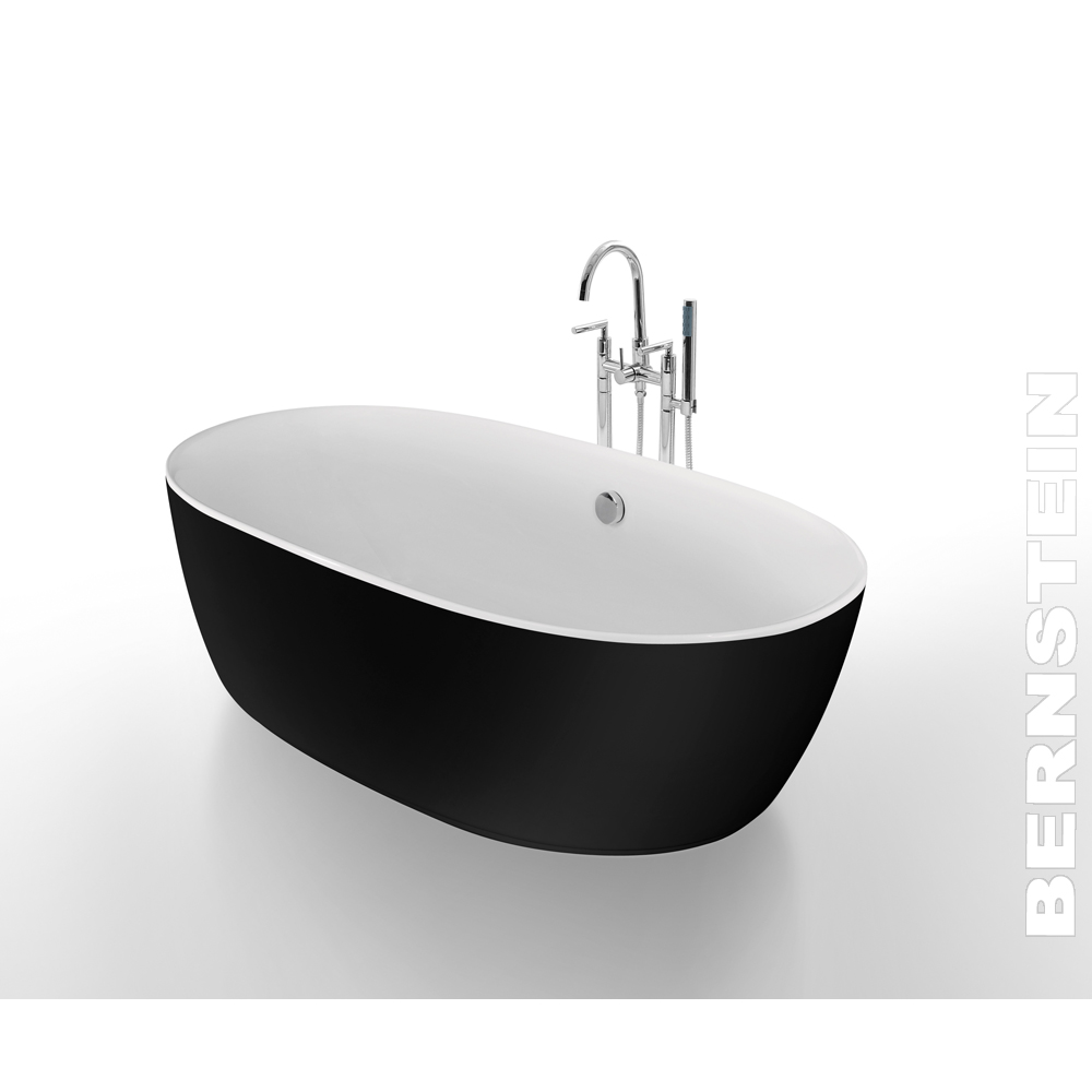 freistehende badewanne roma schwarz 180x84 inkl armatur. Black Bedroom Furniture Sets. Home Design Ideas