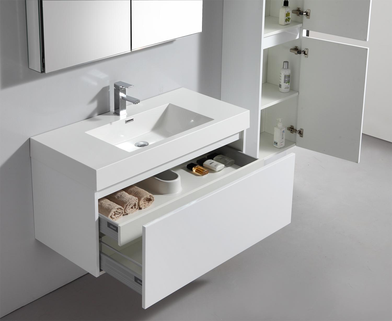Bernstein Design Badmbelset Badmbel Waschbecken Set Spiegelschrank wei ...