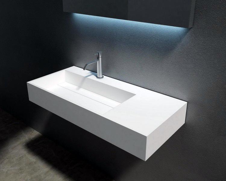 wandwaschbecken design wand waschtisch mineralguss stein pb2015 wei matt ebay. Black Bedroom Furniture Sets. Home Design Ideas