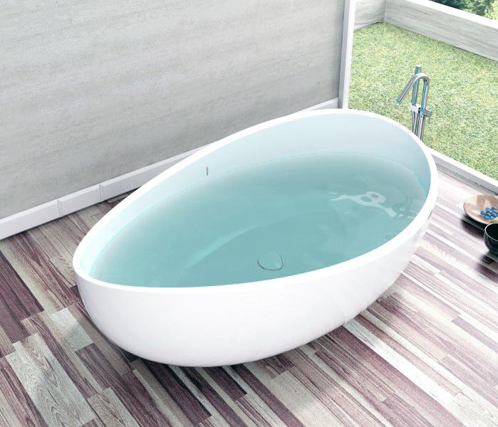 Baignoire lot en pierre solide solid stone wave blanc for Baignoire ilot ceramique