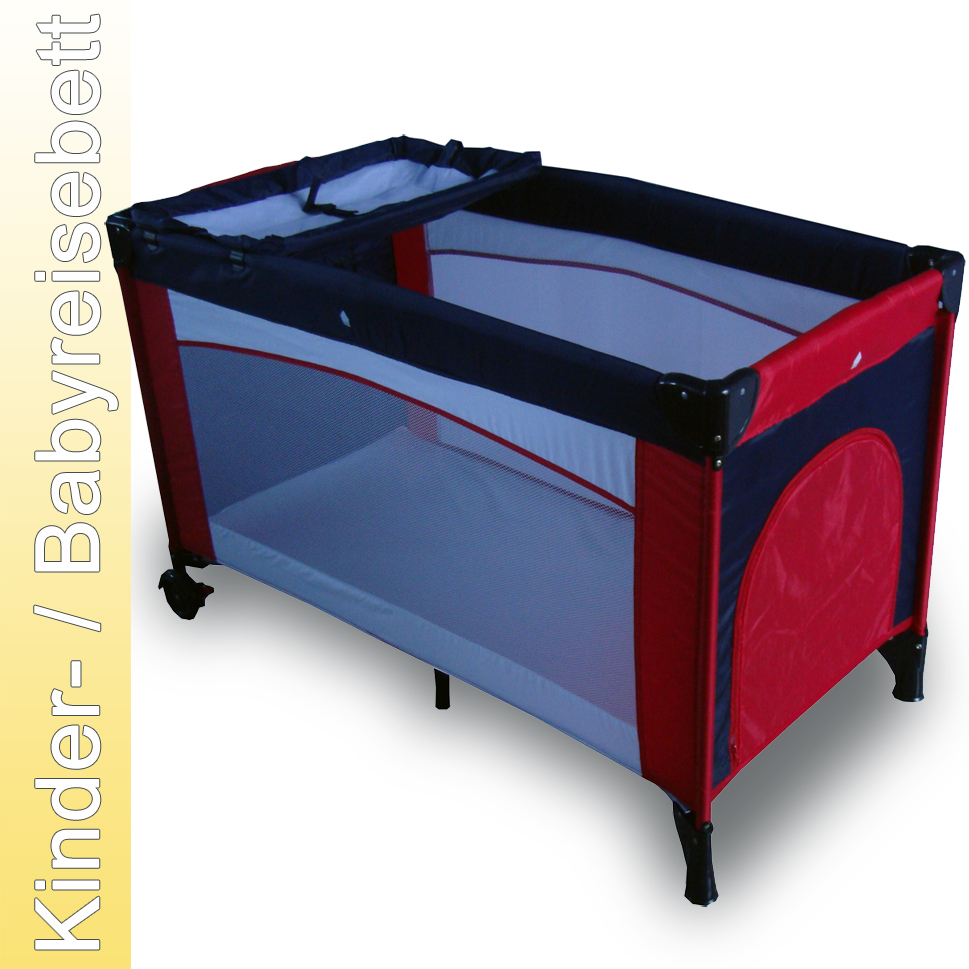 kinderreisebett reisebett kinderbett mit wickelauflage blau rot a01w ebay. Black Bedroom Furniture Sets. Home Design Ideas