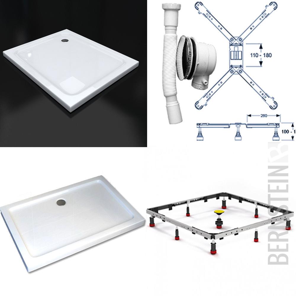 duschtasse duschwanne flach acryl acrylwanne eckig mepa gestell ebay. Black Bedroom Furniture Sets. Home Design Ideas