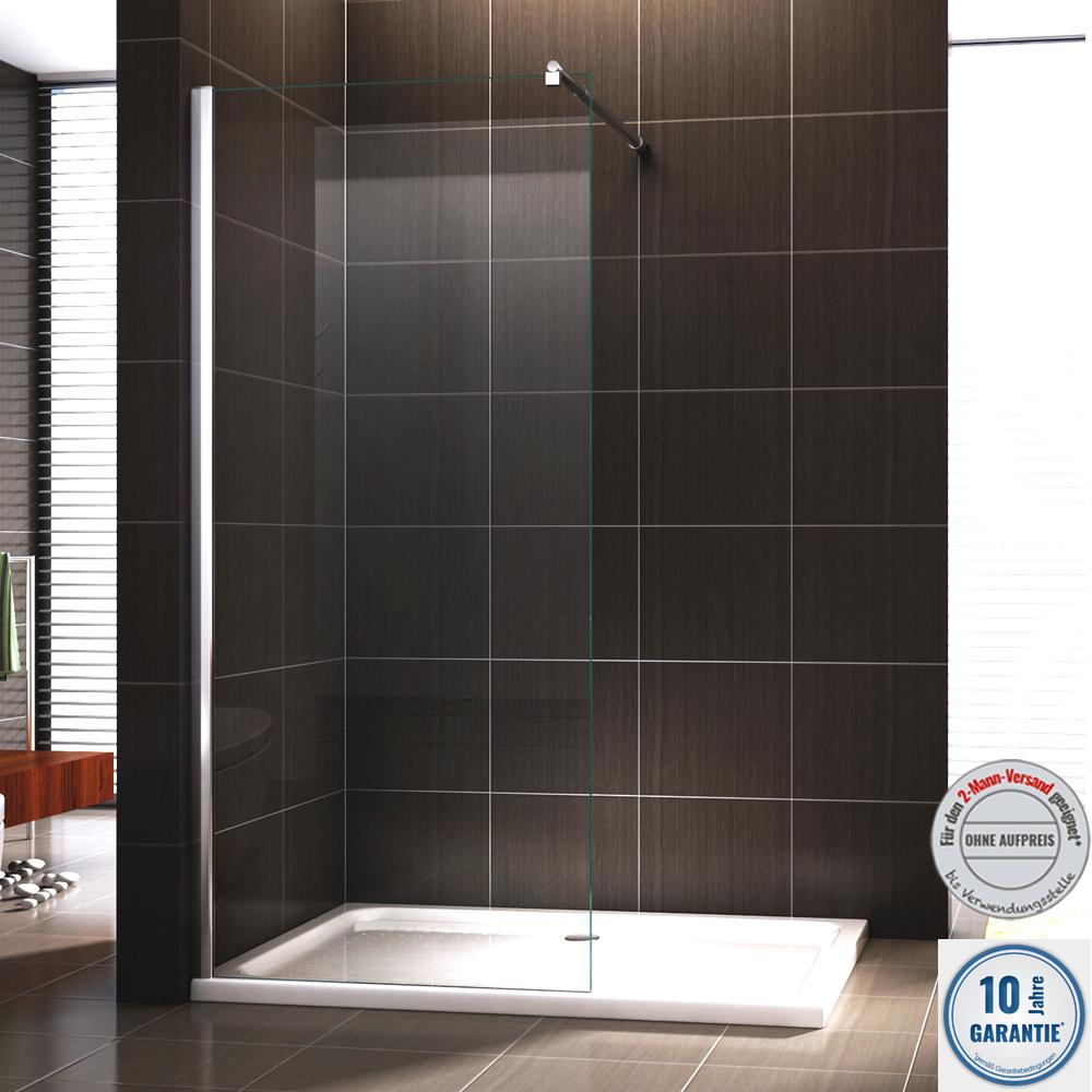 duschabtrennung duschwand walk in nano echtglas ex101 breite w hlbar ebay. Black Bedroom Furniture Sets. Home Design Ideas