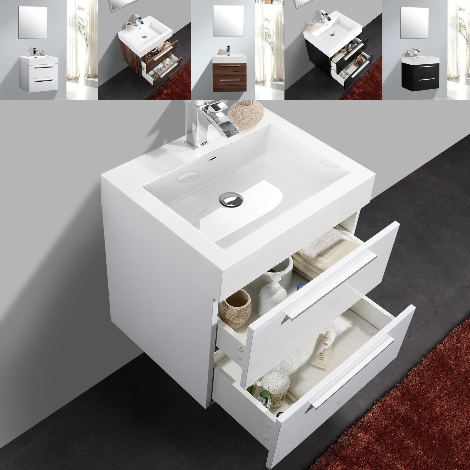 bernstein badm bel set 60cm waschbecken unterschrank wei schwarz oder walnuss ebay