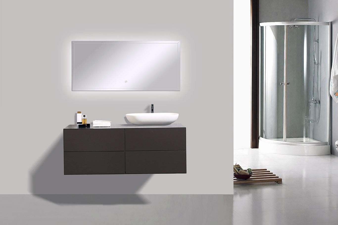Mobili da bagno 120 cm bianco led specchio bacino sottopensile