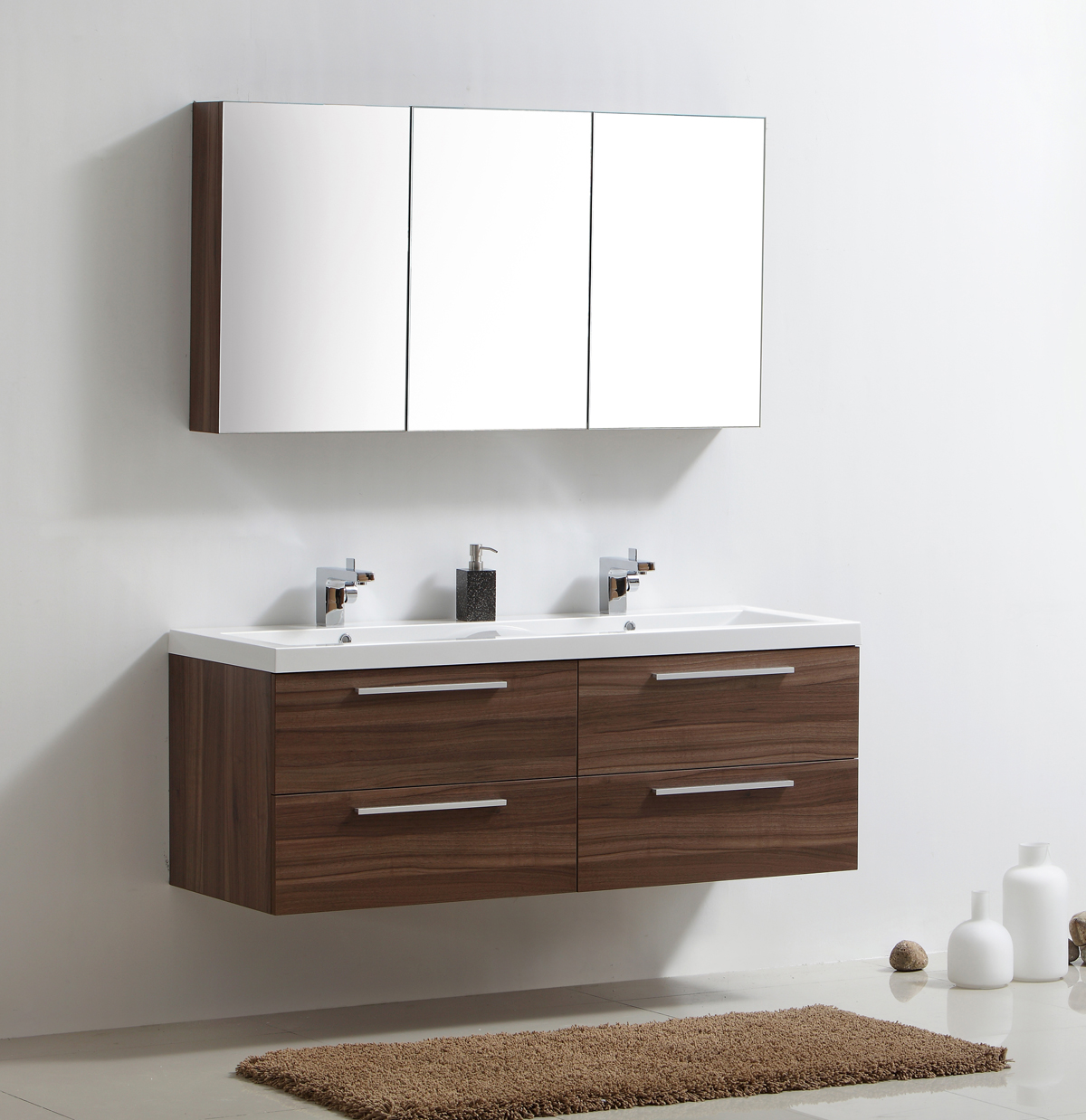 meuble de salle de bain noix armoire de toilette 3 portes miroir ext rieur ebay. Black Bedroom Furniture Sets. Home Design Ideas
