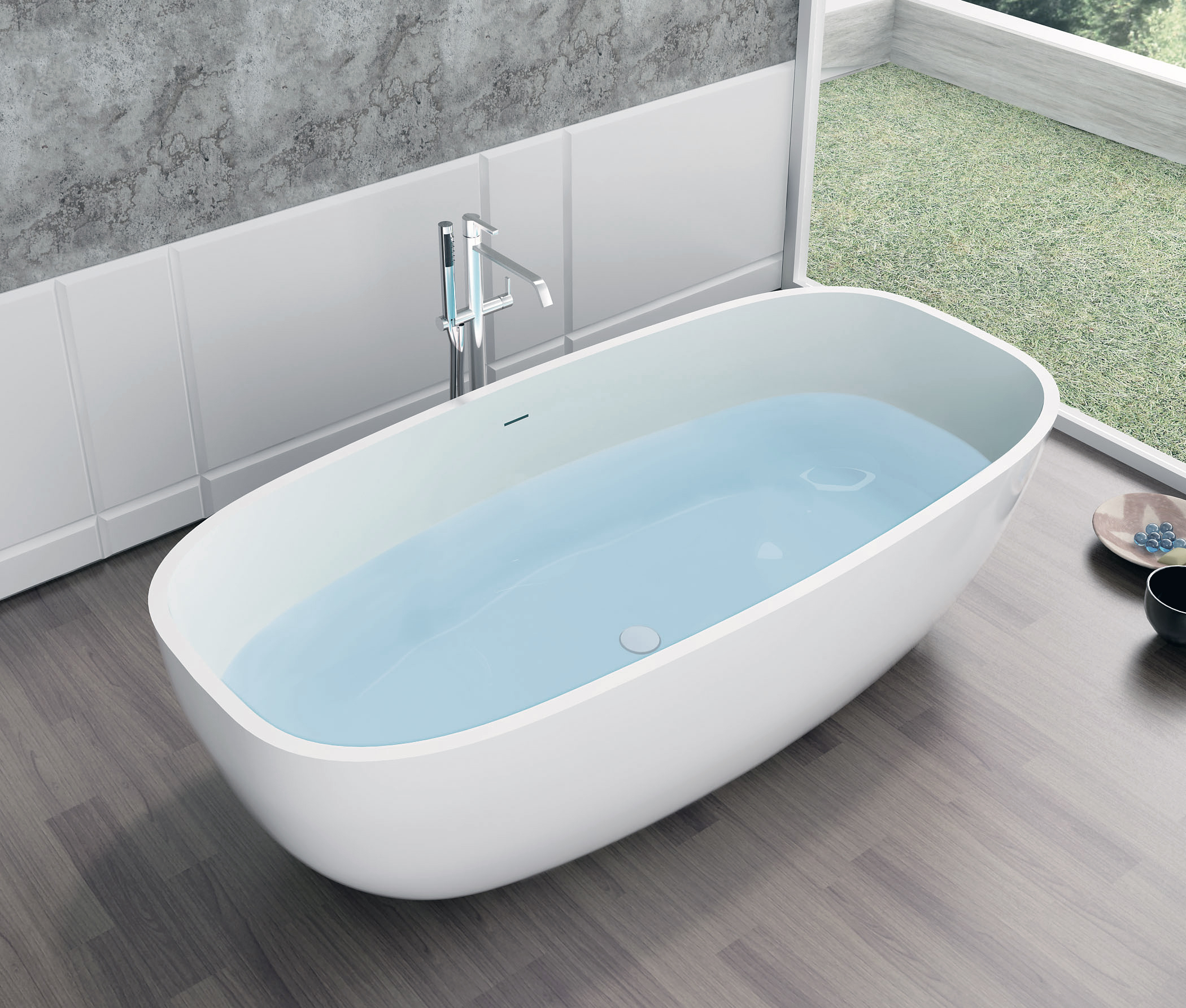 Vasca da bagno freestanding ocean solid stone scarico - Materiale vasca da bagno ...