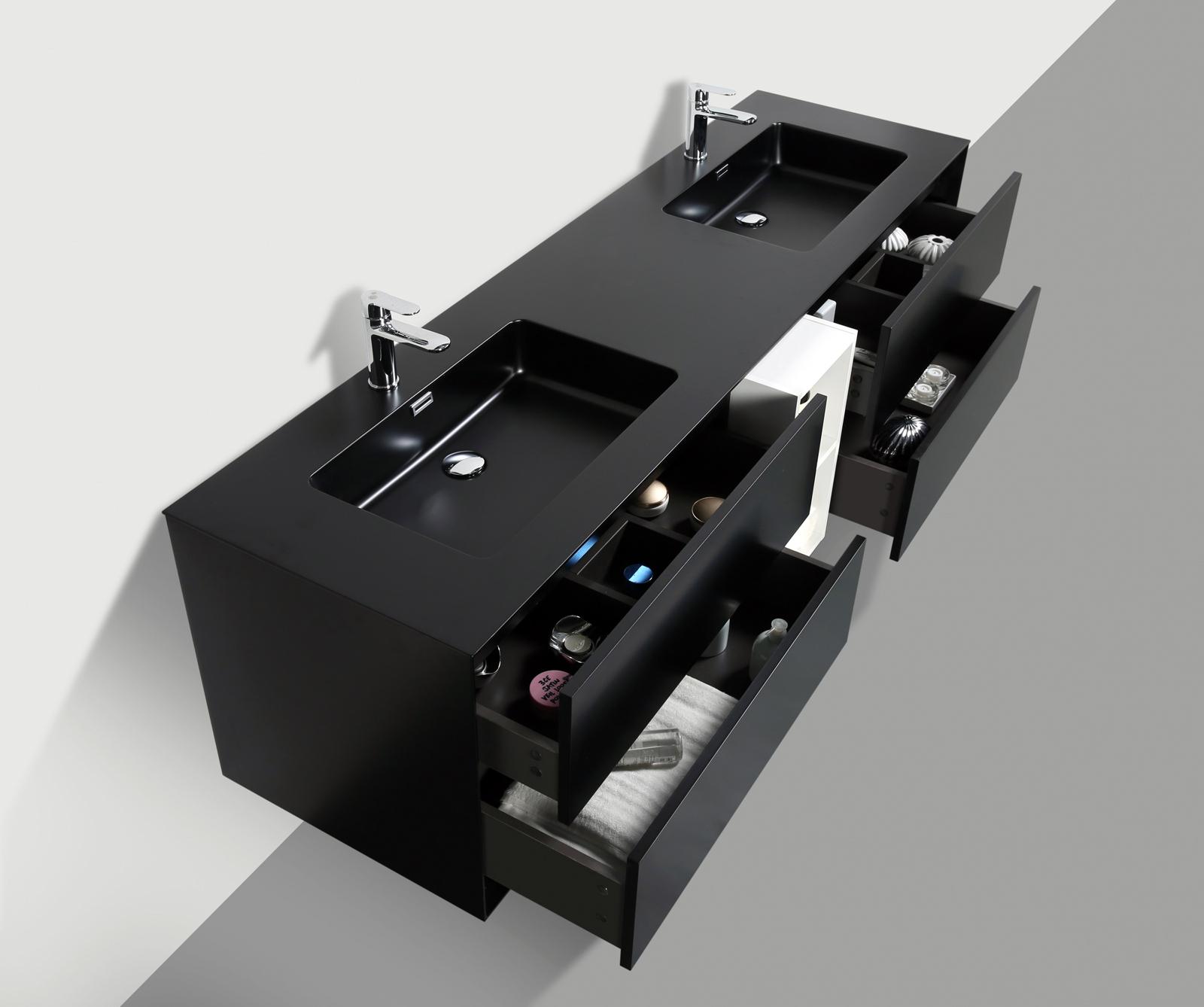 Mobili da bagno set lavandino doppio lavabo nero opaco - Lavandino bagno nero ...