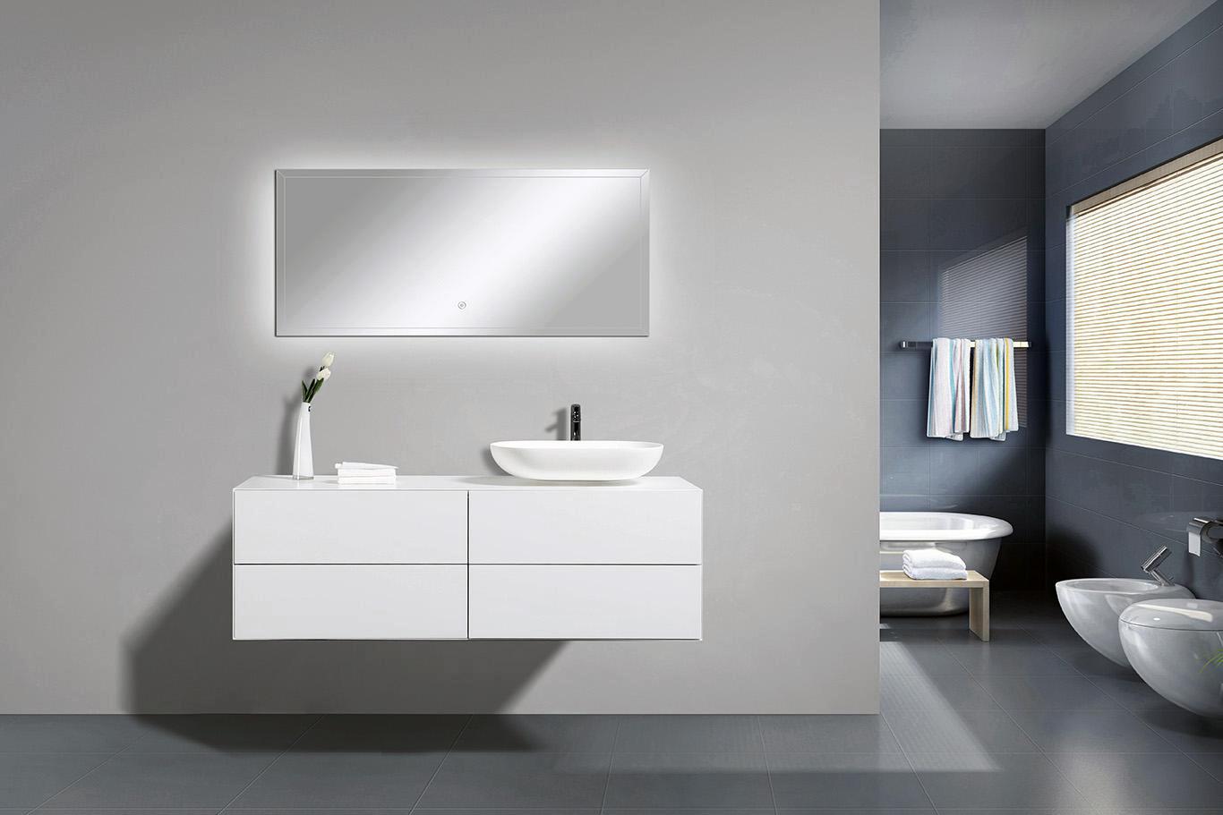 Mobili da bagno milou 1400 bianco opaco specchio e bacino opzionale