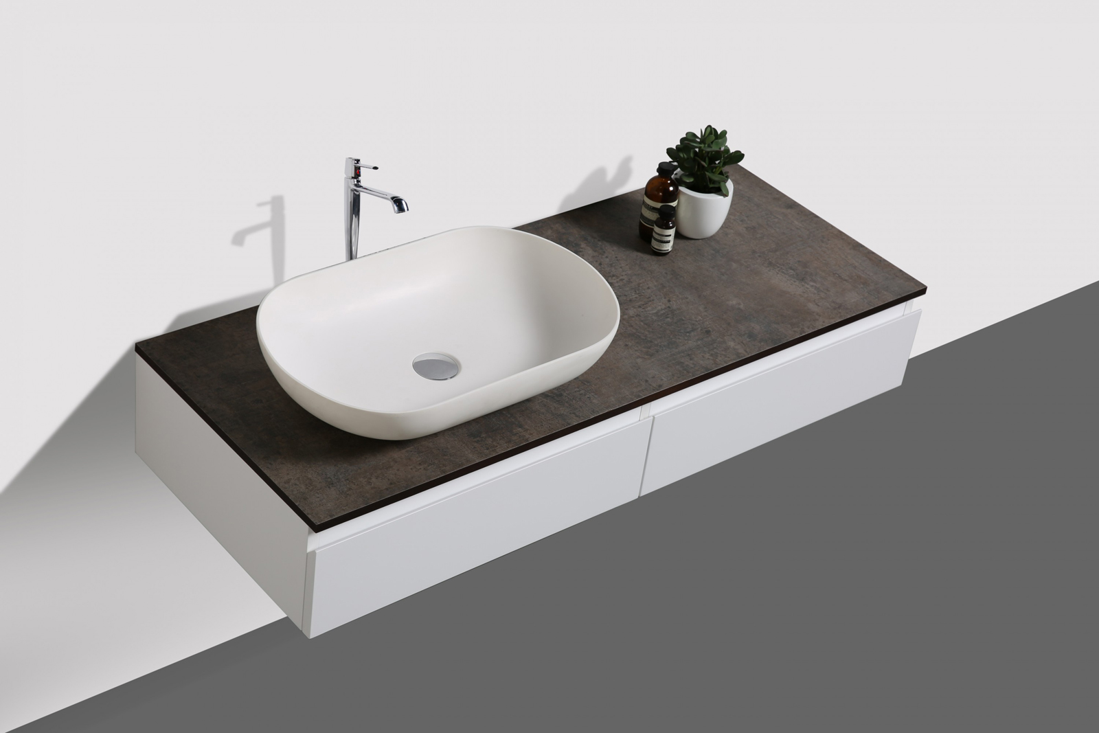 Mobili da bagno vision 120 cm bianco specchio bacino sottopensile
