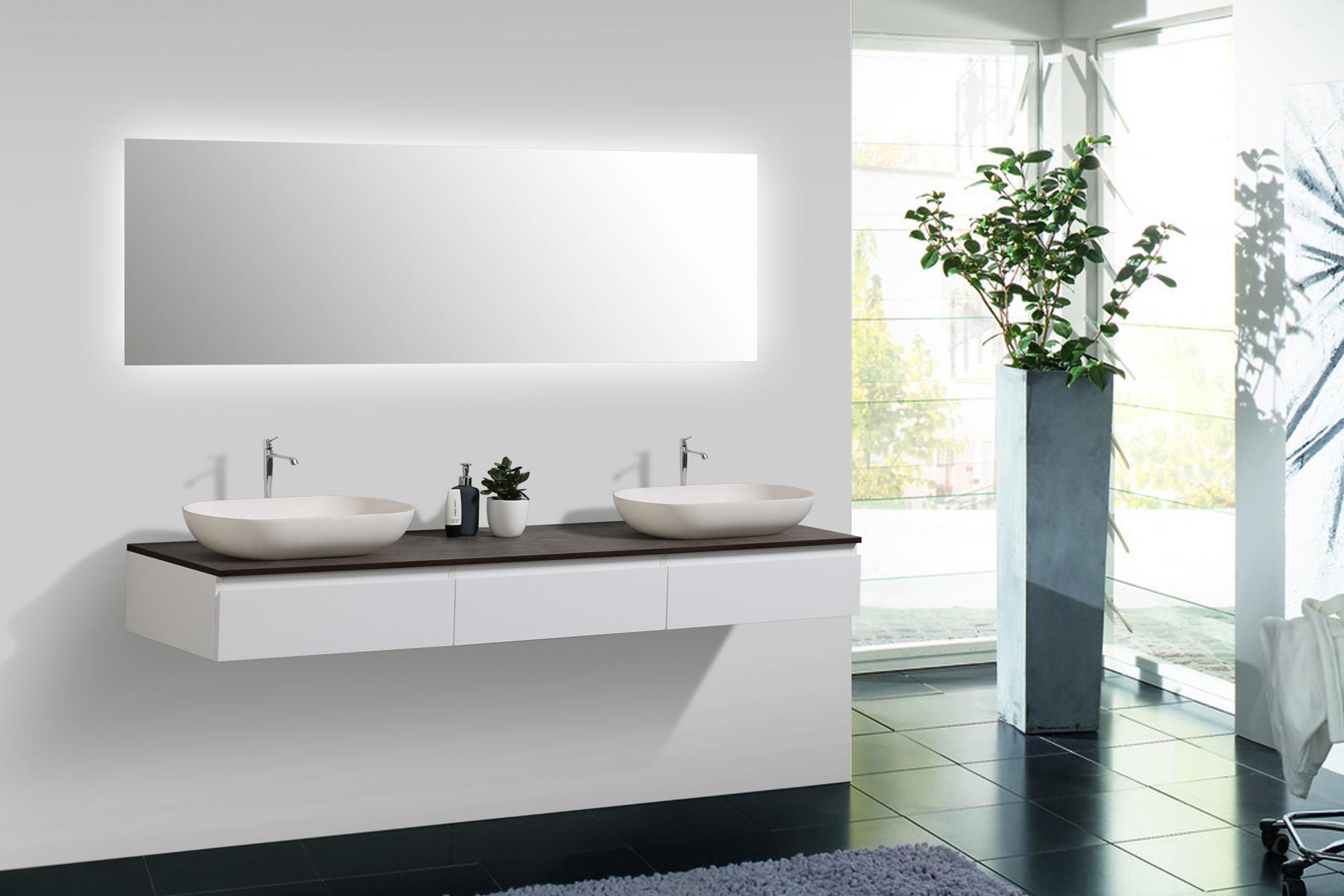 Mobili da Bagno Vision 180 cm Bianco Specchio Bacino Sottopensile ...