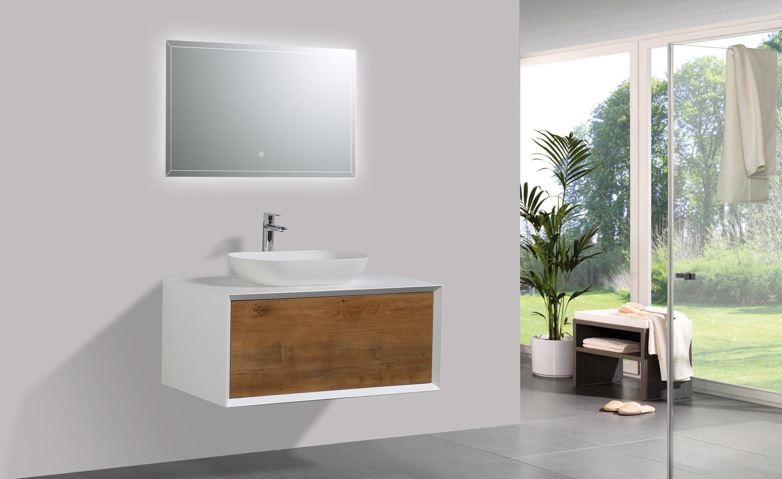 Mobili da bagno 90 cm rovere led specchio bacino sottopensile lavabo