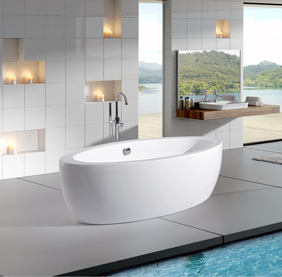 Freistehende badewanne modena acryl 185x91 inkl armatur for Armatur freistehende badewanne