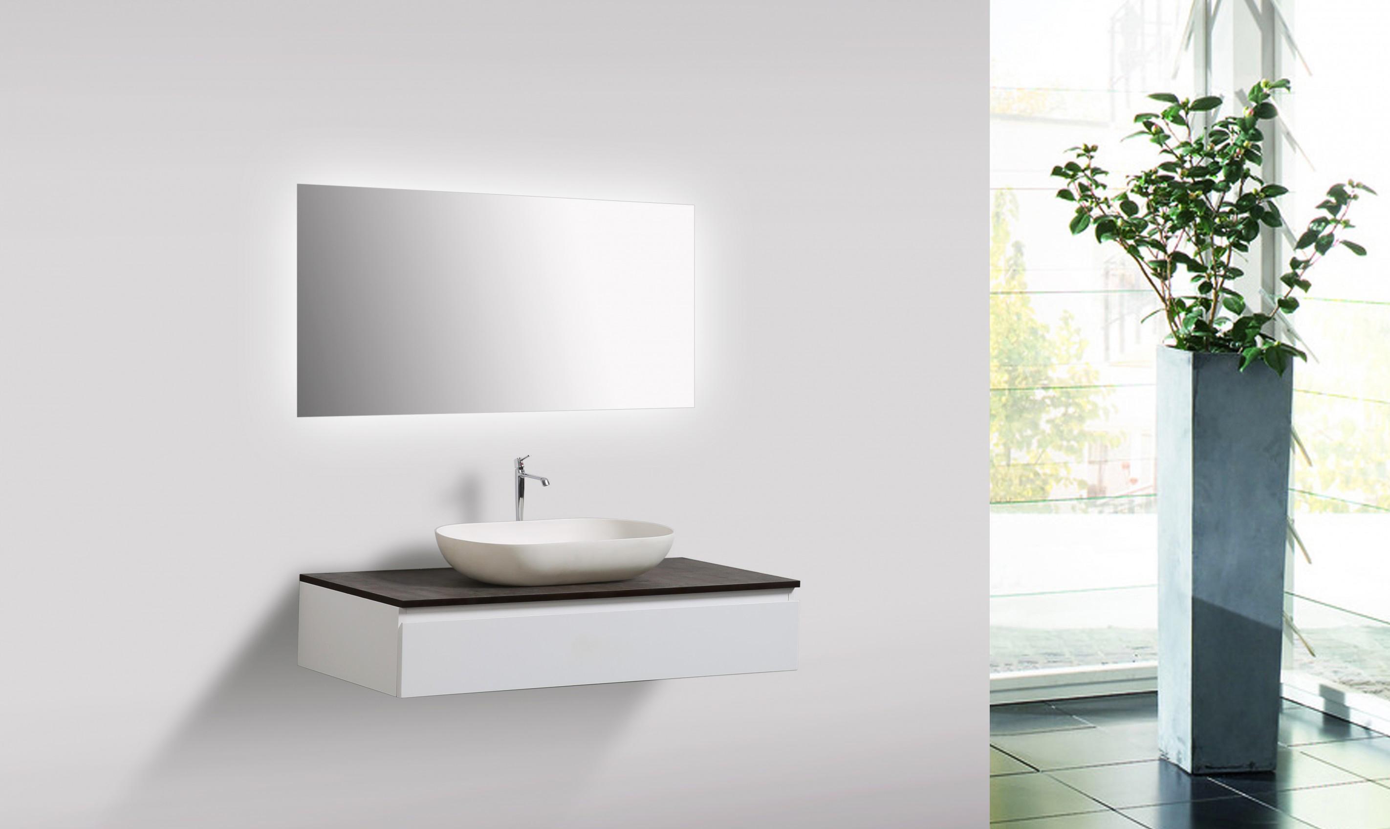 Mobili da bagno vision 100 cm bianco specchio bacino sottopensile