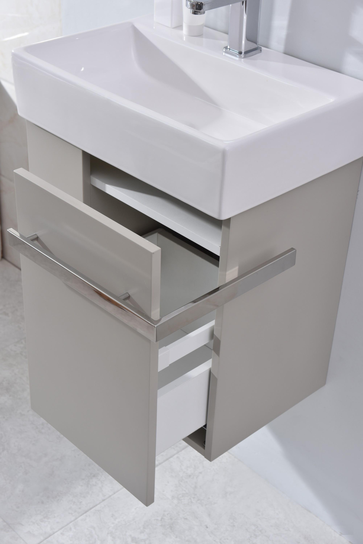 badm bel set badezimmer unterschrank waschtisch badschrank g ste wc taupe hell ebay. Black Bedroom Furniture Sets. Home Design Ideas