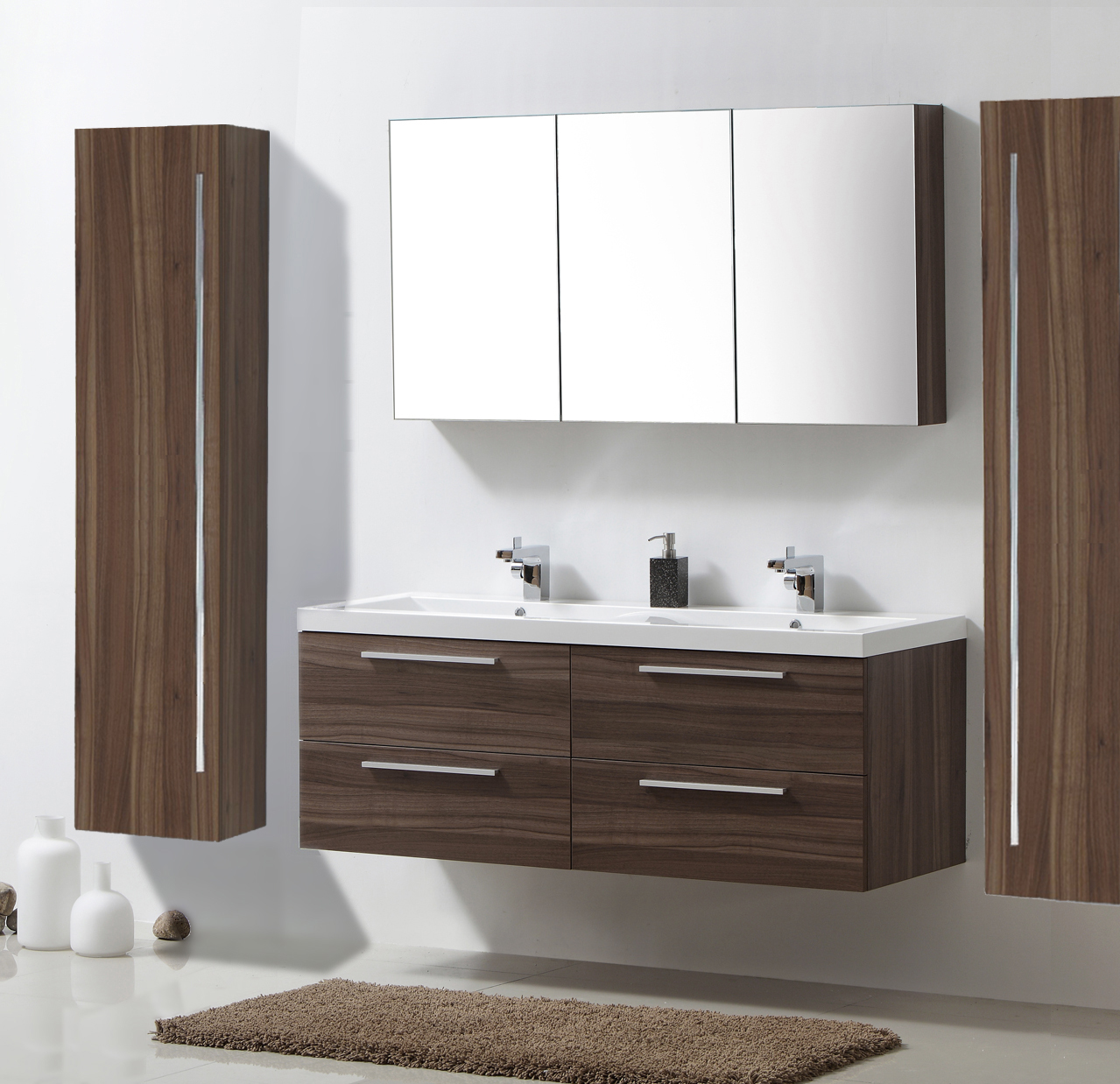 Badm bel set r1442lr walnuss doppelwaschbecken for Spiegelschrank doppelwaschbecken