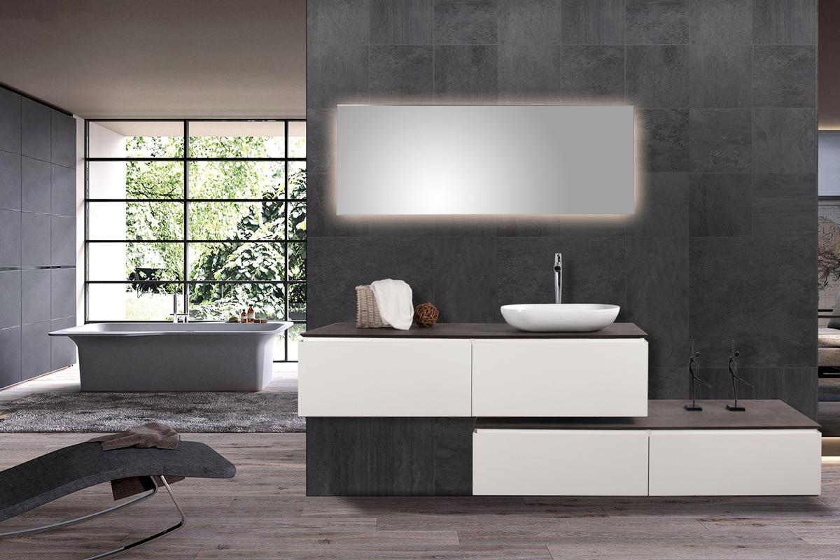 Mobili da bagno lavandino doppio set spring 1500 bianco opaco bacino