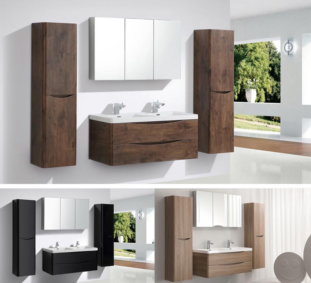 Mobili da bagno bianco nero lavandino e base armadietto a specchio led luce ebay - Mobili da bagno sotto lavandino ...