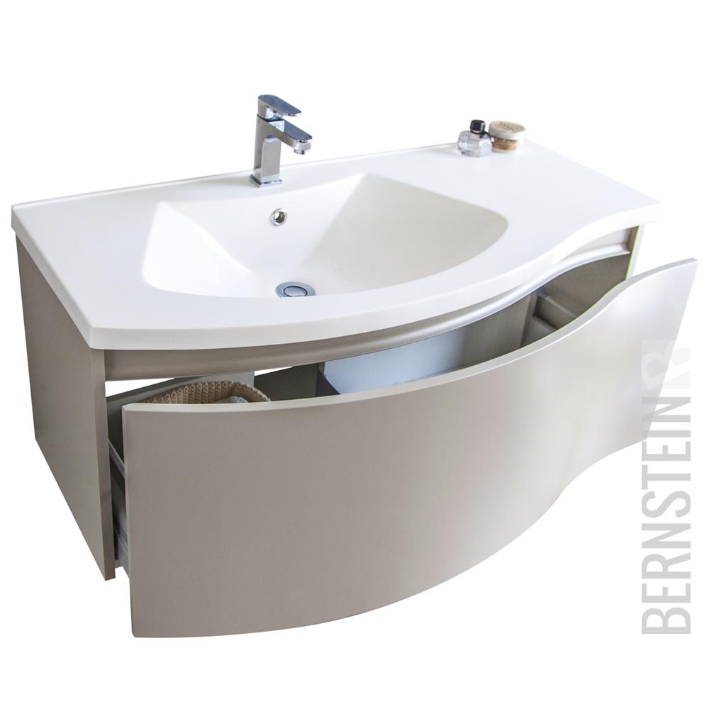 OrionShop Mobile Bagno Sospeso KAHINA da 100cm Bianco Opaco con Lavabo Specchio e Lampada LED Inclusi