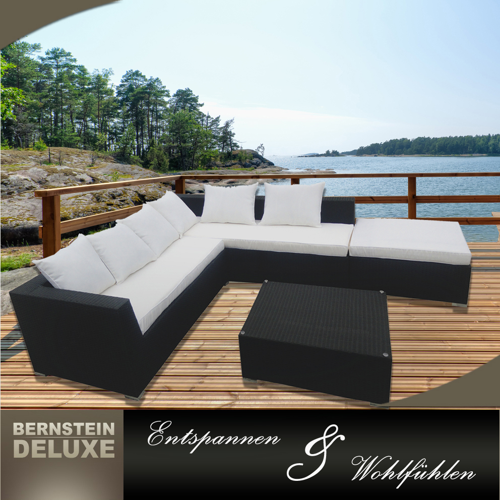 bernstein xxl polyrattan lounge edle rattan sofagarnitur gartenm bel set ebay. Black Bedroom Furniture Sets. Home Design Ideas