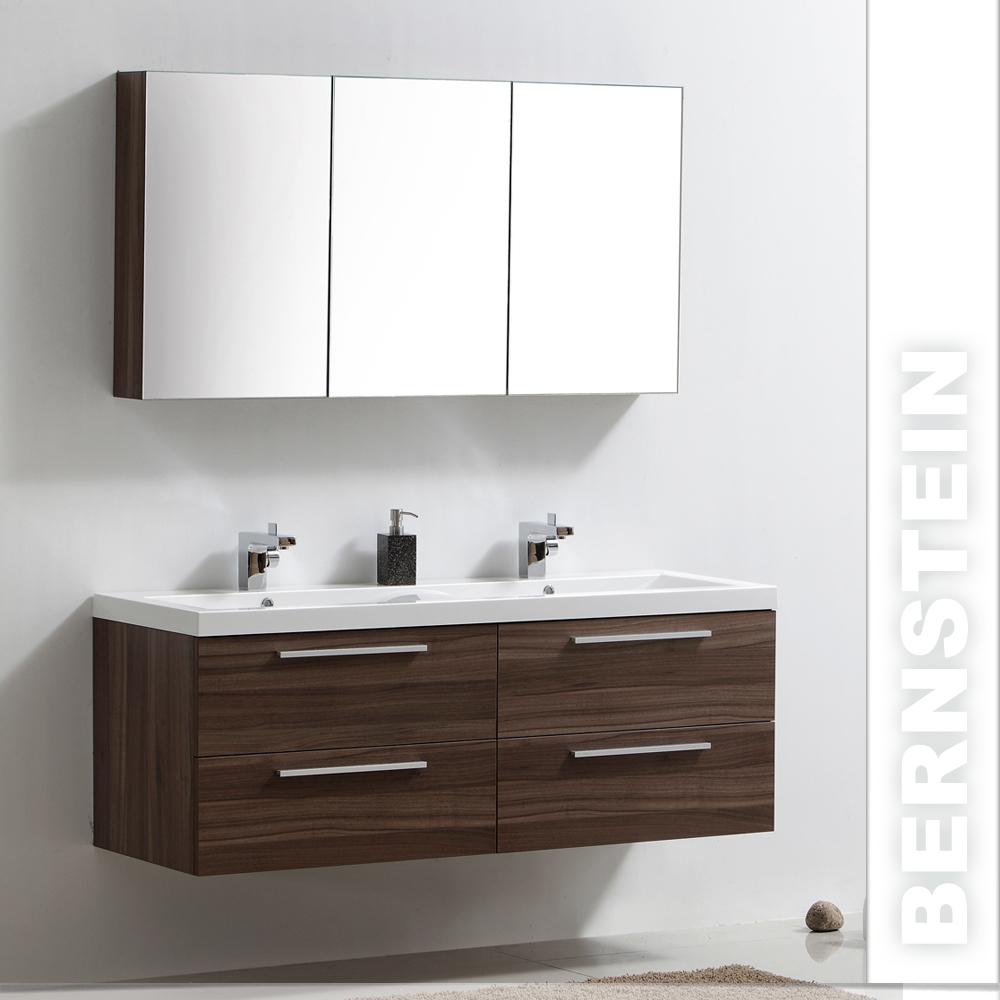 badm bel set r1440 walnuss doppelwaschbecken spiegelsch ebay. Black Bedroom Furniture Sets. Home Design Ideas