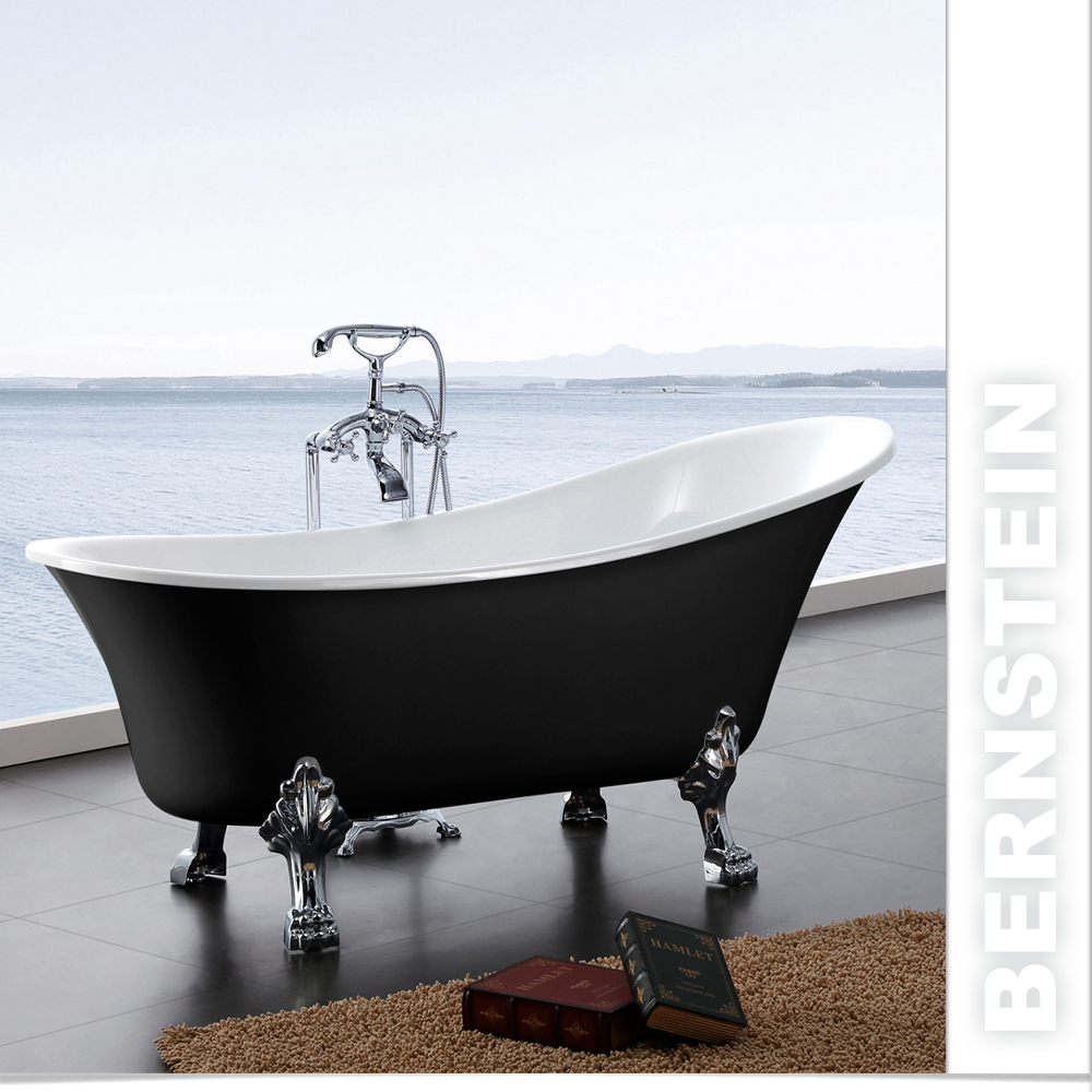 freistehende badewanne paris acryl 176x71 schwarz inkl ebay. Black Bedroom Furniture Sets. Home Design Ideas