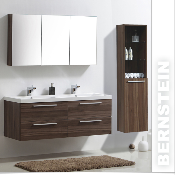 badm bel set r1449 walnuss doppelwaschbecken spiegelschrank hoher seitenschrank ebay. Black Bedroom Furniture Sets. Home Design Ideas