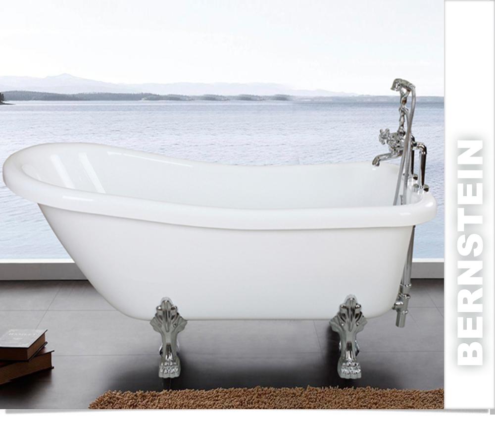 Freistehende Badewanne FLORENCE ACRYL weiß inkl. Ab/Überlauf inkl ...