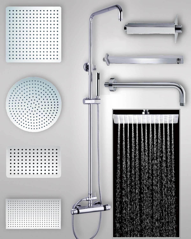 Soffione doccia extra piatto braccio soffione tondo quadro accessori inox lucido ebay - Soffione della doccia ...