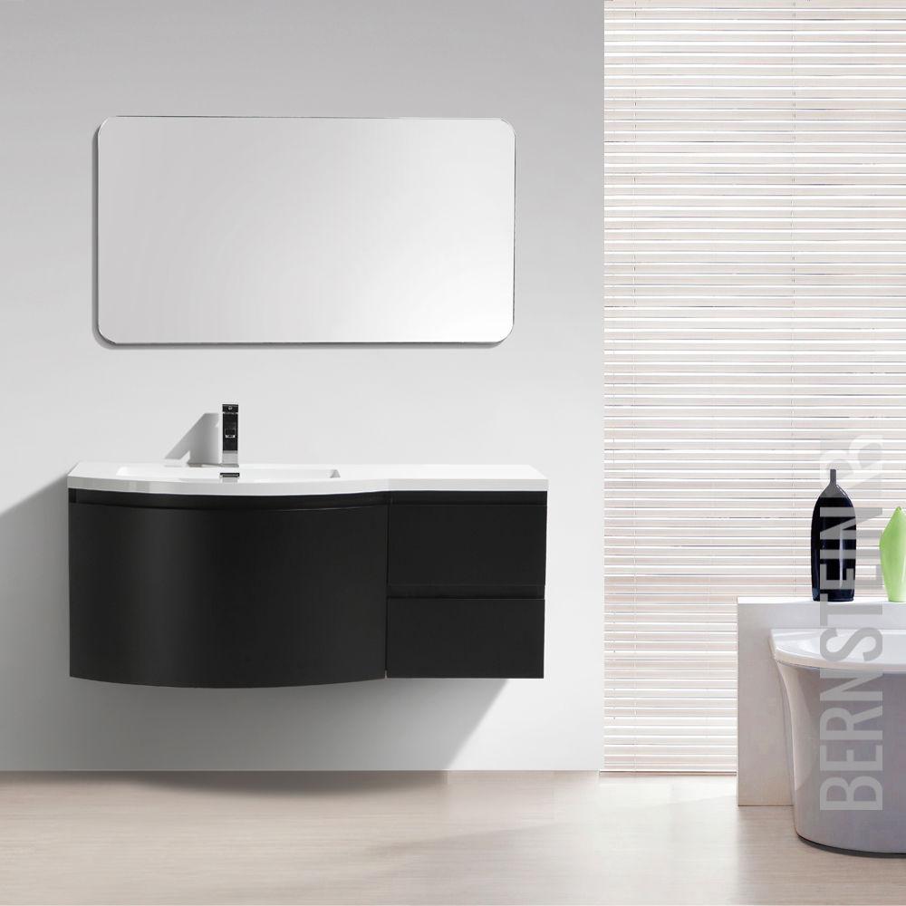 Mobili da bagno set laurance 1200 bianco lucido nero opaco - Lavandino bagno nero ...