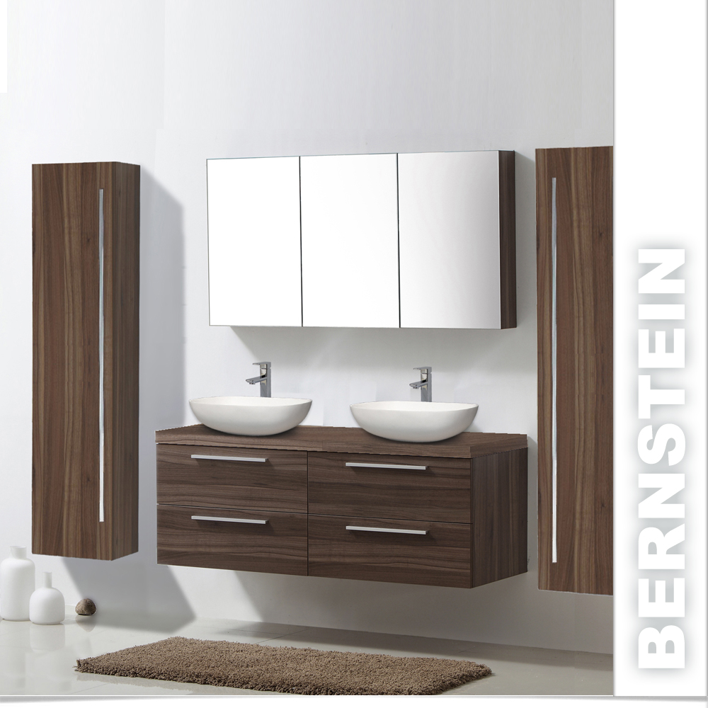 badm bel set aufsatzwaschbecken badezimmerm bel spiegelschrank walnuss ebay. Black Bedroom Furniture Sets. Home Design Ideas