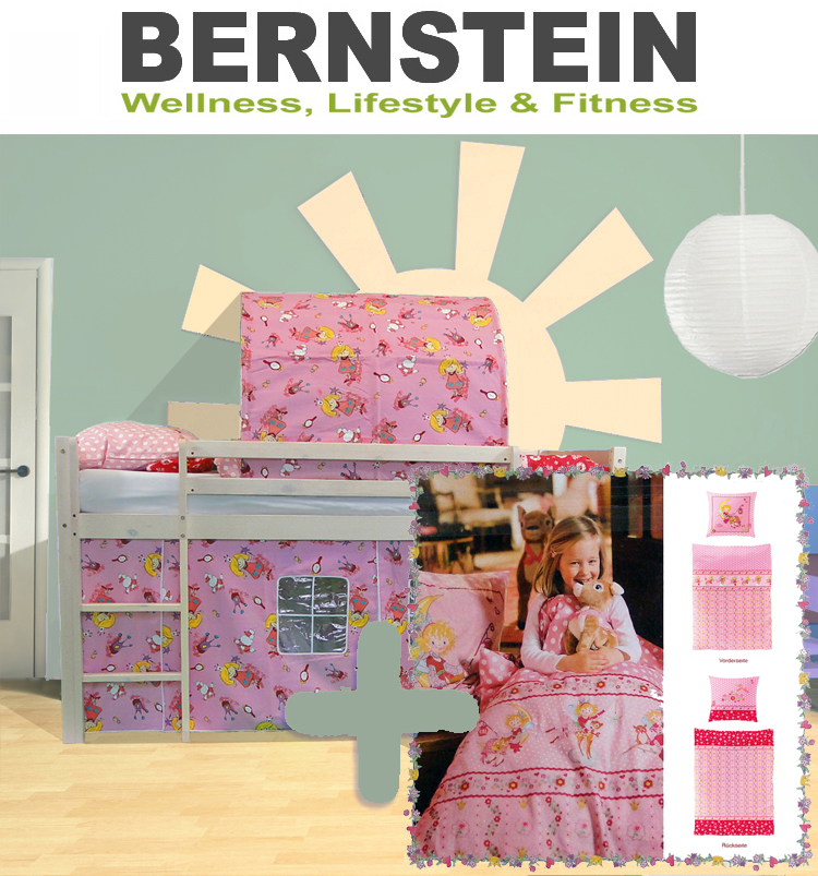 bett kinderbett prinzessin hochbett rutsche bettw sche. Black Bedroom Furniture Sets. Home Design Ideas