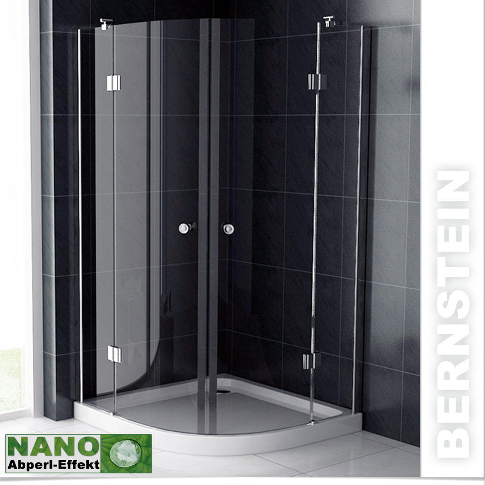 bernstein duschkabine rund duschabtrennung glas echtglas viertelkreis nano ebay. Black Bedroom Furniture Sets. Home Design Ideas