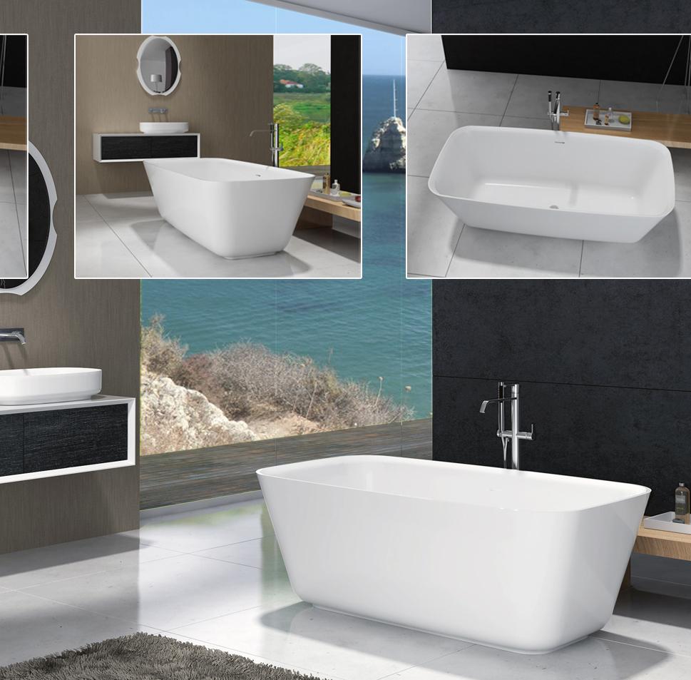 bernstein design badewanne freistehende wanne cube mineralguss armatur ebay. Black Bedroom Furniture Sets. Home Design Ideas