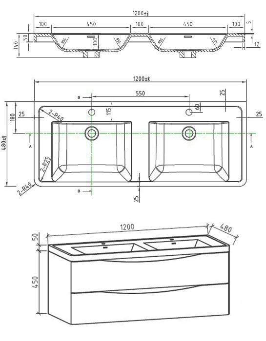 Doppelwaschbecken maße  Badmöbelset Doppelwaschbecken Waschtisch 120cm Badezimmermöbel LED ...