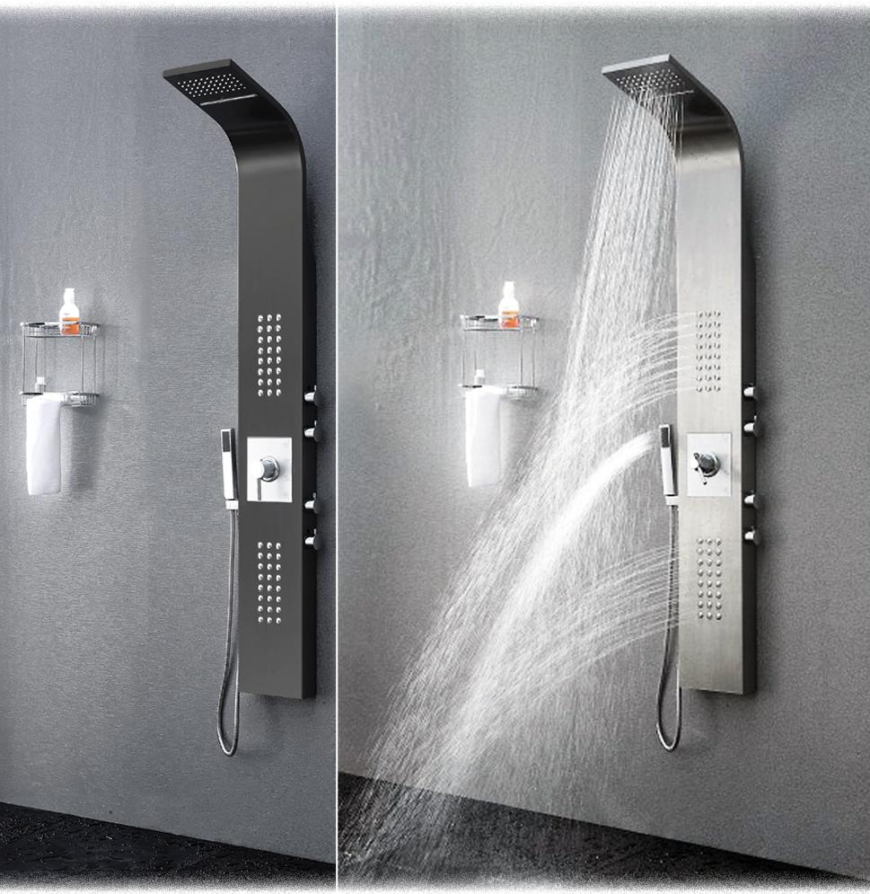 duschpaneel edelstahl sedal thermostat regendusche duscharmatur schwalldusche ebay. Black Bedroom Furniture Sets. Home Design Ideas
